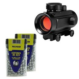 Kit Mira Holográfica Red Dot 11mm CBC 1 x 30 + 600 Esferas de Aço 4.5mm ActionX Airsoft