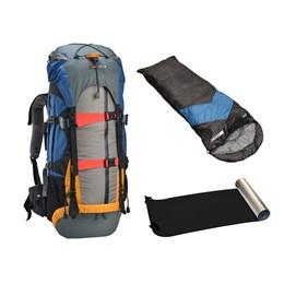 Kit Mochila Cargueira Gyzmo 50L + Saco Dormir Azul Escuro + Isolante Térmico Aluminizado