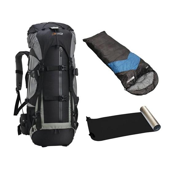 Kit Mochila Cargueira Gyzmo 60L + Saco Dormir Azul Escuro + Isolante Térmico Aluminizado