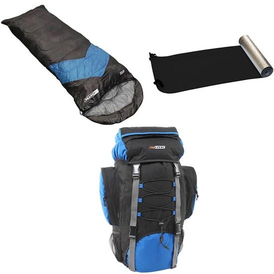 Kit Mochila Cargueira Intruder 60L + Saco de Dormir Azul + Isolante Térmico Aluminizado