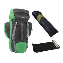 Kit Mochila Cargueira Intruder 80L + Saco de Dormir Verde + Isolante Térmico Aluminizado