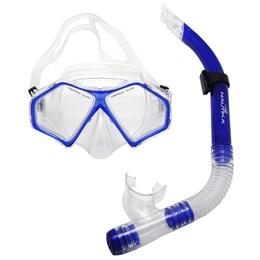 Kit para Mergulho e Snorkel com Máscara e Respirador Spider Azul Nautika