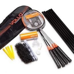 Kit para Treino de Badminton com Jogo de Rede 4 Raquetes e 3 Petecas em Nylon Vollo