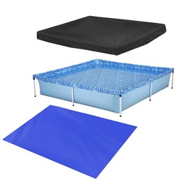 Kit Piscina 1500 Litros Infantil com Válvula de Deságue Azul Mor 1003 + Capa Protetora + Forro Mor