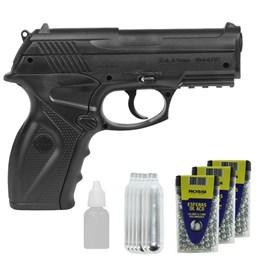 Kit Pistola Airgun Wingun C11 4.5mm + 900 Esferas de Aço + Óleo + 6 Co2 12g