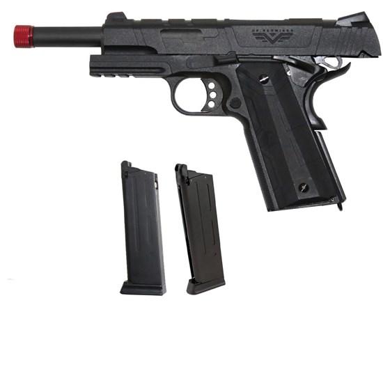 Kit Pistola Airsoft 1911 Redwings Preta c/ BlowBack + Magazine Green Gás