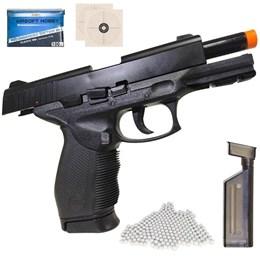 Kit Pistola Airsoft 24/7 KwC KA-06HNA com Trava de Segurança + Munição BBs Airsoft 2000 unidades