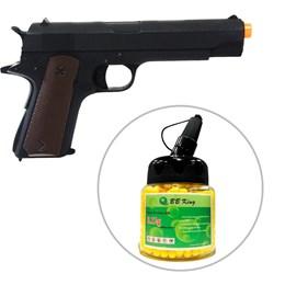 Kit Pistola Airsoft Colt 1911 CM123 210fps AEP Full Metal + Munição BBs 0,12g BB King 1000 Unidades