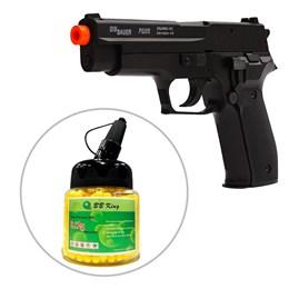 Kit Pistola Airsoft Cybergun Sig Sauer P226 220 fps Slide Metal + Munição BBs BB King 1000 Unidades
