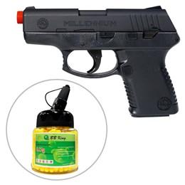 Kit Pistola Airsoft Cybergun Taurus Millennium PT111 180 fps 6mm + Munição BBs 1000 Unidades