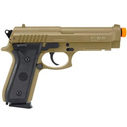Kit Pistola Airsoft CyberGun Taurus PT92 Tan 230 fps Slide Metal + 10 Alvos de Papel para Airsoft