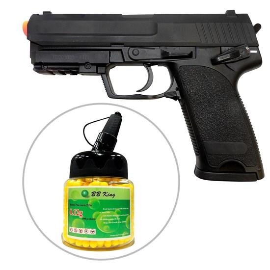 Kit Pistola Airsoft CYMA CM125 USP AEP 200 fps Full Metal + Munição BBs BB King 1000 Unidades