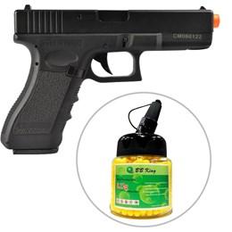 Kit Pistola Airsoft CYMA Glock G18C CM030 AEP 197 fps + Munição BBs 0,12g BB King 1000 Unidades