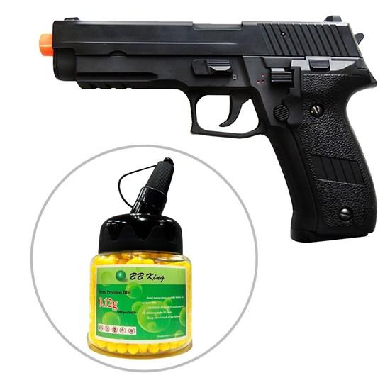Kit Pistola Airsoft CYMA Sig Sauer P226 CM122 200 fps AEP + Munição BBs BB King 1000 Unidades
