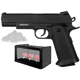 Kit Pistola Airsoft Metal 1911 VG18 + 2000 BBs 0,12g + Alvo Automático com Rede de Captura