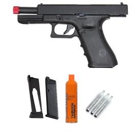 Kit Pistola Airsoft R17 Híbrida + Magazine + Cartucho Green Gás + 3 Cilindro CO2