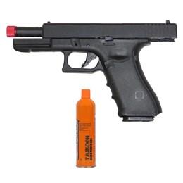 Kit Pistola Airsoft R17 Híbrida +Magazine Cartucho Green Gás 3 Cilindro CO2