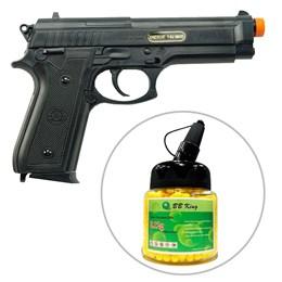 Kit Pistola Airsoft Taurus PT92 Cybergun 200 fps Spring + Munição BBs 0,12g BB King 1000 Unidades