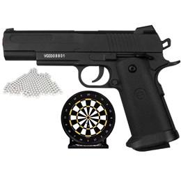 Kit Pistola Airsoft VG Metal 1911 + 2000BB 0,12 + Alvo Gel Coletor de Bolinhas