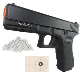 Kit Pistola Airsoft Vigor GK-V20 Spring 180 fps + 4000 BBs + 25 Alvos 1cmx1cm