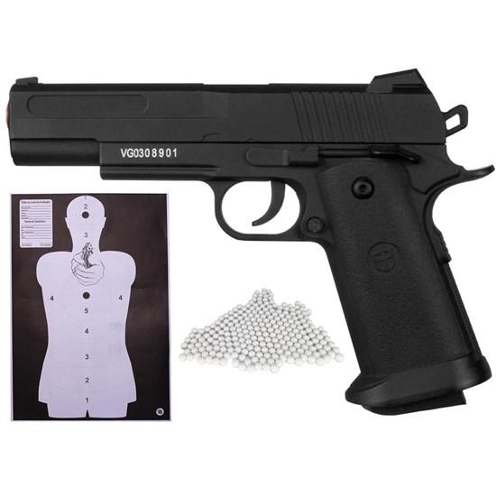 Kit Pistola Airsoft Vigor Metal 1911 VG18 160 FPS Spring 6mm + 2000 BBs 0,12g + Alvo SM