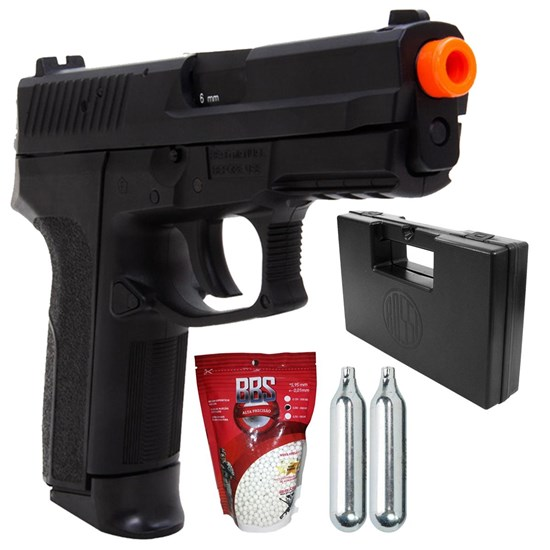 Kit Pistola de Airsoft CO2 KwC Sig Sauer SP2022 430fps + 2 Minis Cilindros CO2 + 2000 BBs + Maleta