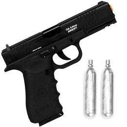 Kit Pistola de Airsoft CO2 Win Gun W119 420fps Semi-Automática + 2 Minis Cilindros 12g