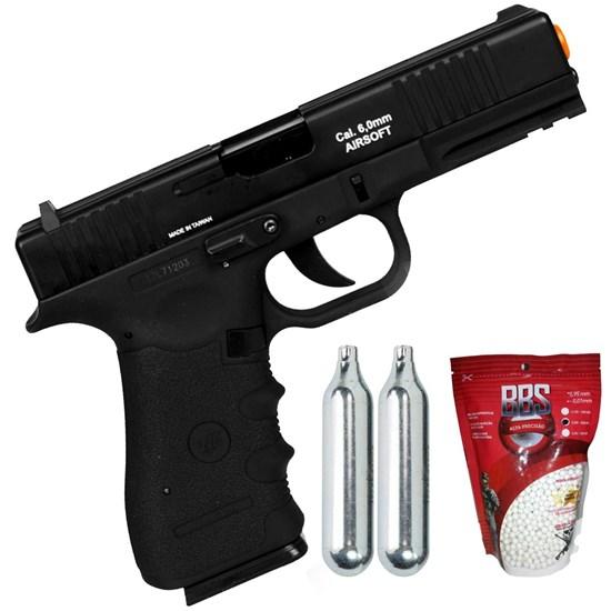 Kit Pistola de Airsoft CO2 Win Gun W119 Semi-Automática + 2 Minis Cilindros CO2 12g + 2000 BBs 0,20g