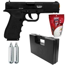 Kit Pistola de Airsoft CO2 Win Gun W119 Semi-Automática + 2 Minis Cilindros CO2 + 2000 BBs + Maleta