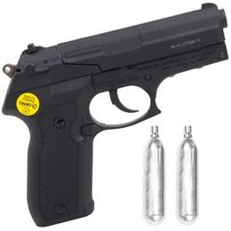 Kit Pistola de Pressão CO2 Gamo PT-80 4.5mm 410 fps Semi-Automática + 2 Minis Cilindros CO2 12g