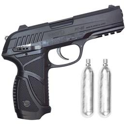 Kit Pistola de Pressão CO2 Gamo PT-85 Blowback 4.5mm Semi-Automática + 2 Minis Cilindros CO2 12g