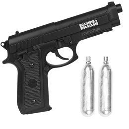 Kit Pistola de Pressão CO2 Swiss Arms SA P92 4.5mm Semi-Automática + 2 Minis Cilindros CO2 12g