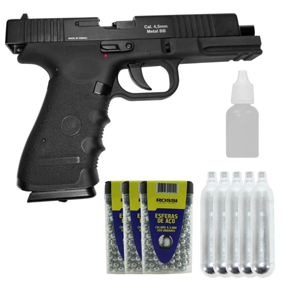 Kit Pistola de Pressão Co2 W119 + 5 Mini Cilindros Co2 + 900 Esferas + 1 Óleo