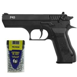 Kit Pistola de Pressão KWC P45 PCP 4.5mm 375 fps 2 Magazines + Esferas de Aço 4.5mm 600 Unidades