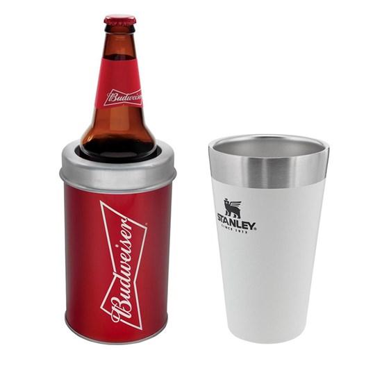Kit Porta Garrafa Budweiser Vermelho + Copo Térmico Stanley 473ml Branco
