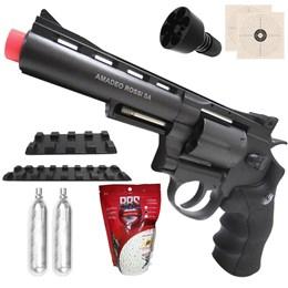 Kit Revólver Airsoft CO2 Win Gun 701 335 fps Full Metal + 2 Minis Cilindros CO2 12g + 2000 BBs 0,20g