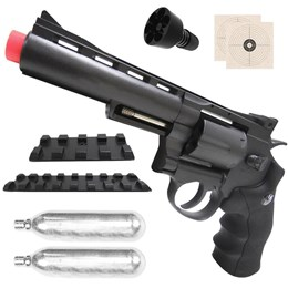 Kit Revólver Airsoft CO2 Win Gun 701 335 fps Full Metal + 2 Minis Cilindros CO2 12g  Swiss Arms
