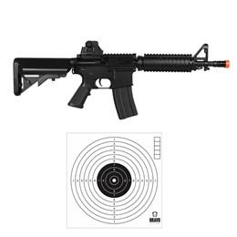 Kit Rifle Airsoft CyberGun M4A1 Colt 361 fps AEG Preto + 10 Alvos de Papel para Airsoft
