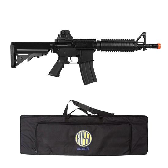 Kit Rifle Airsoft CyberGun M4A1 Colt 361 fps AEG Preto + Mala para Airsoft ActionX Preta