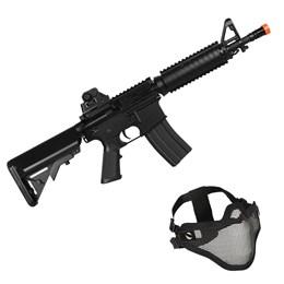 Kit Rifle Airsoft CyberGun M4A1 Colt 361 fps AEG Preto + Máscara Tática para Airsoft Meia-Face