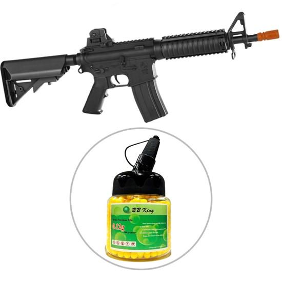 Kit Rifle Airsoft CyberGun M4A1 Colt 361 fps AEG Preto + Munição BBs 0,12g BB King 1000 Unidades