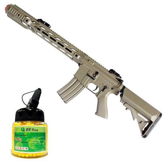 Kit Rifle Airsoft CYMA CM518 M4A1 400 fps AEG Tan + Munição BBs 0,12g BB King 1000 Unidades