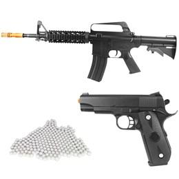 Kit Rifle Airsoft Vigor VG M16RIS Spring + Pistola Airsoft Vigor VG 1911 V9 Spring + 2000 BBs 0,12g