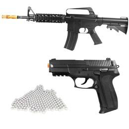 Kit Rifle Airsoft Vigor VG M16RIS Spring + Pistola Airsoft Vigor VG S2022 Spring + 2000 BBs 0,12g