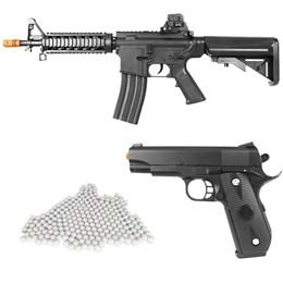 Kit Rifle Airsoft Vigor VG M4RIS CQB Spring + Pistola Airsoft Vigor VG 1911 V9 Spring + 2000 BBs