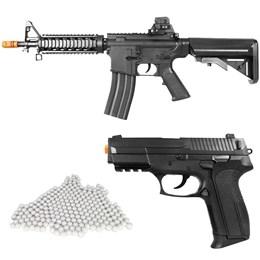 Kit Rifle Airsoft Vigor VG M4RIS CQB Spring + Pistola Airsoft Vigor VG S2022 Spring + 2000 BBs 0,12g