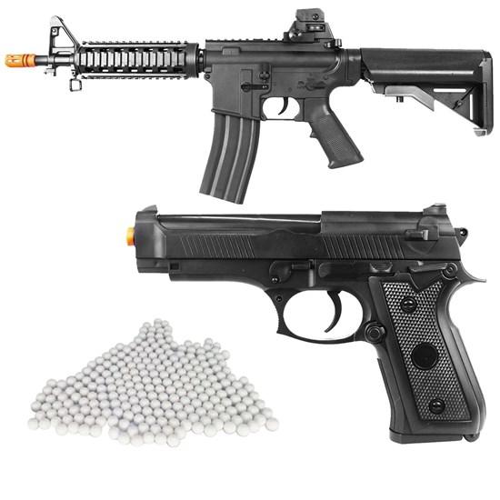Kit Rifle Airsoft Vigor VG M4RIS CQB Toy Spring + Pistola Airsoft Vigor VG P92 Spring + 2000 BBs 0,12g