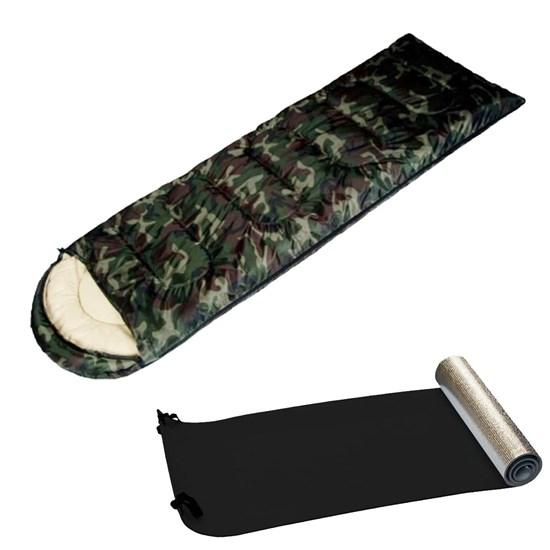Kit Saco de Dormir Camuflado Exército EchoLife + Isolante Térmico E.V.A. Aluminizado Nautika