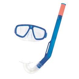 Kit Snorkel e Máscara Infantil Bestway Fundive Lente com Proteção UV Azul