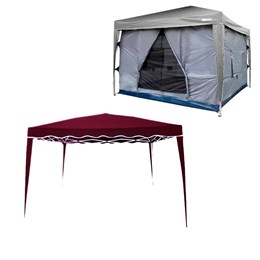 Kit Tenda Gazebo 3x3 metros Articulado IWGZA-3BO Bordô + Parede Impermeável Transform Nautika